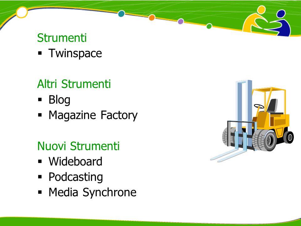 Strumenti  Twinspace Altri Strumenti  Blog  Magazine Factory Nuovi Strumenti  Wideboard  Podcasting  Media Synchrone