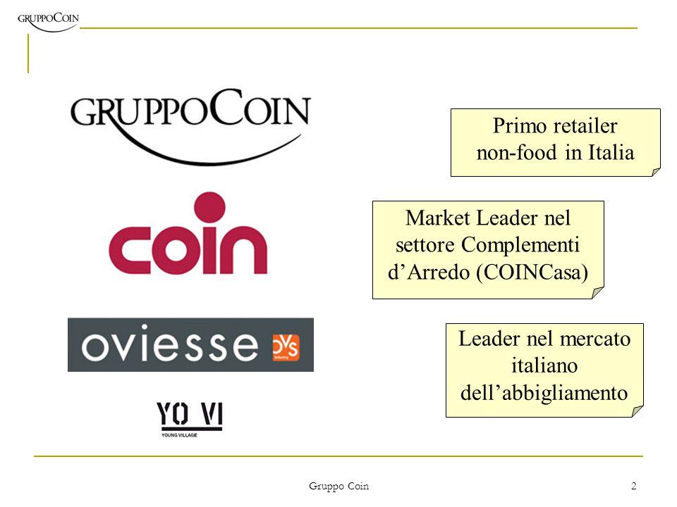 Gruppo Coin 2 Primo retailer non-food in Italia Market Leader nel settore Complementi d'Arredo (COINCasa) Leader nel mercato italiano dell'abbigliamento