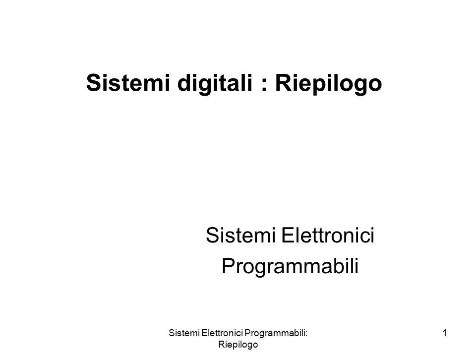 Sistemi Elettronici Programmabili: Riepilogo 1 Sistemi digitali : Riepilogo Sistemi Elettronici Programmabili
