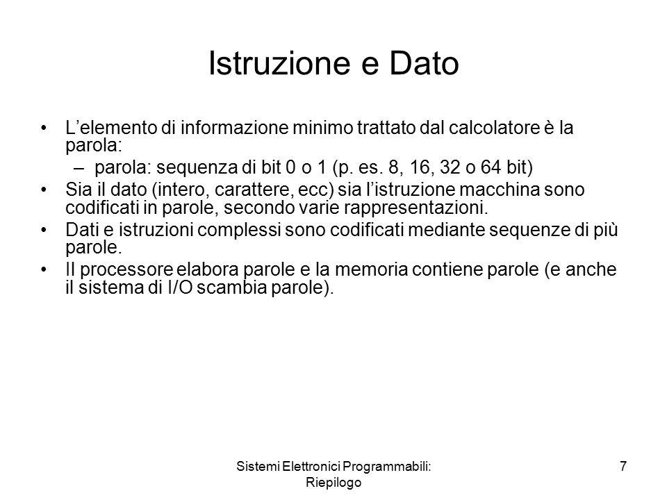 Sistemi Elettronici Programmabili: Riepilogo 7 Istruzione e Dato L'elemento di informazione minimo trattato dal calcolatore è la parola: –parola: sequenza di bit 0 o 1 (p.