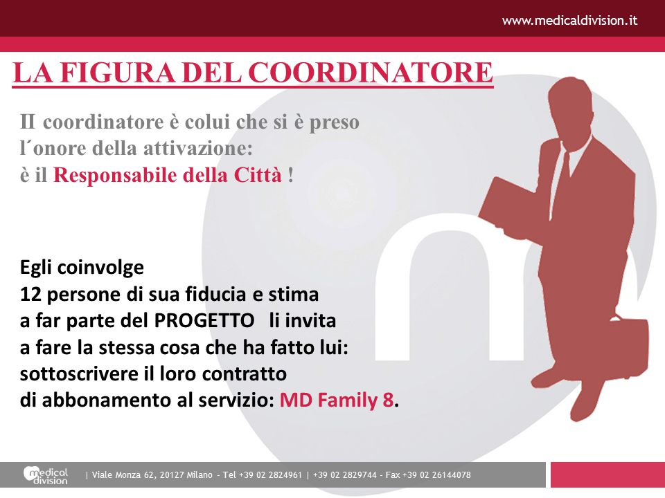 | Viale Monza 62, 20127 Milano - Tel +39 02 2824961 | +39 02 2829744 - Fax +39 02 26144078 www.medicaldivision.it LA FIGURA DEL COORDINATORE II coordinatore è colui che si è preso l´onore della attivazione: è il Responsabile della Città .