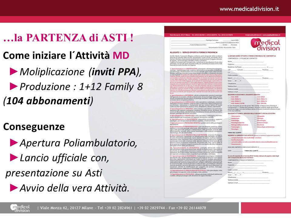 | Viale Monza 62, 20127 Milano - Tel +39 02 2824961 | +39 02 2829744 - Fax +39 02 26144078 www.medicaldivision.it …la PARTENZA di ASTI ! Come iniziare