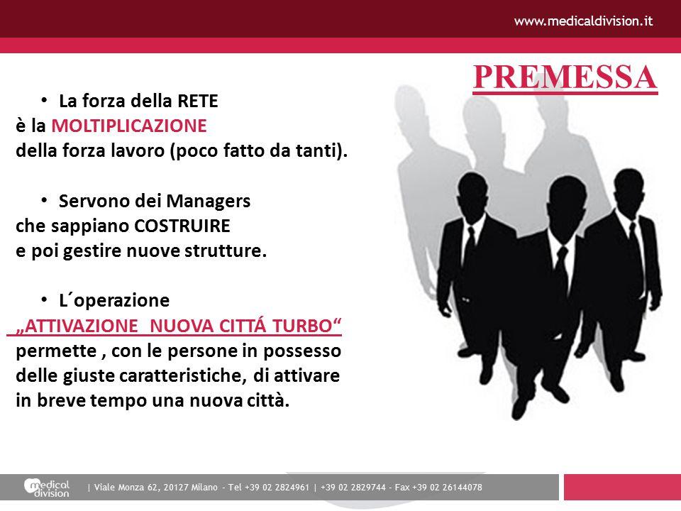 | Viale Monza 62, 20127 Milano - Tel +39 02 2824961 | +39 02 2829744 - Fax +39 02 26144078 www.medicaldivision.it PREMESSA La forza della RETE è la MOLTIPLICAZIONE della forza lavoro (poco fatto da tanti).