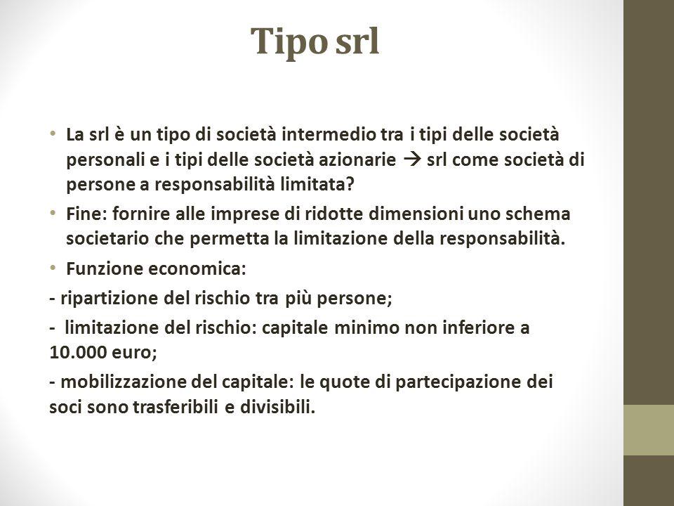 Tipo srl La srl è un tipo di società intermedio tra i tipi delle società personali e i tipi delle società azionarie  srl come società di persone a re