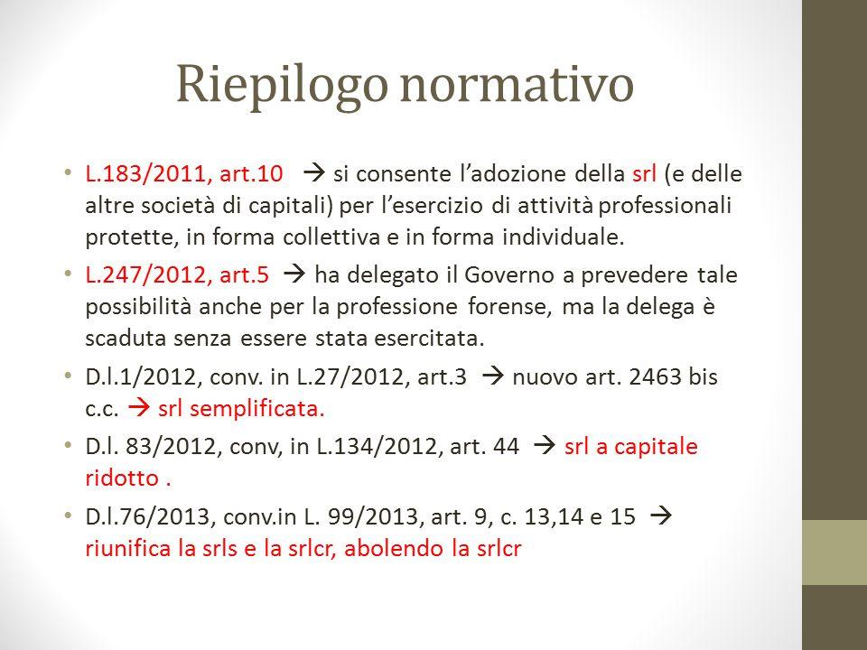 Riepilogo normativo L.183/2011, art.10  si consente l'adozione della srl (e delle altre società di capitali) per l'esercizio di attività professional