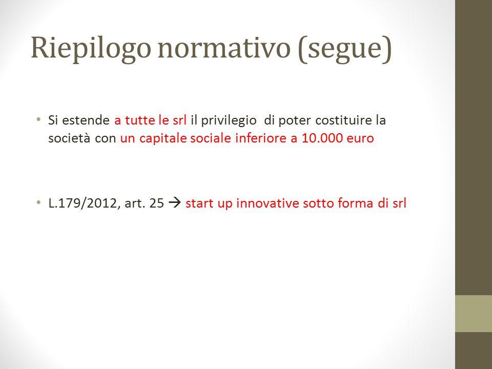 Riepilogo normativo (segue) Si estende a tutte le srl il privilegio di poter costituire la società con un capitale sociale inferiore a 10.000 euro L.1