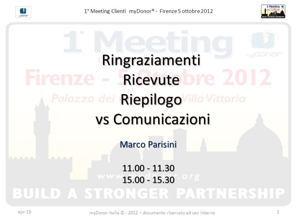 1° Meeting Clienti myDonor® - Firenze 5 ottobre 2012RingraziamentiRicevuteRiepilogo vs Comunicazioni vs Comunicazioni Marco Parisini 11.00 - 11.30 15.