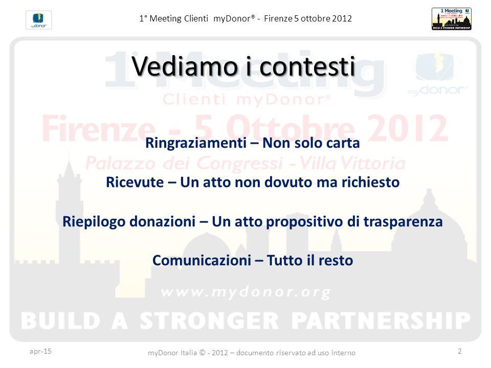 1° Meeting Clienti myDonor® - Firenze 5 ottobre 2012 Ringraziamenti – Non solo carta Ricevute – Un atto non dovuto ma richiesto Riepilogo donazioni –