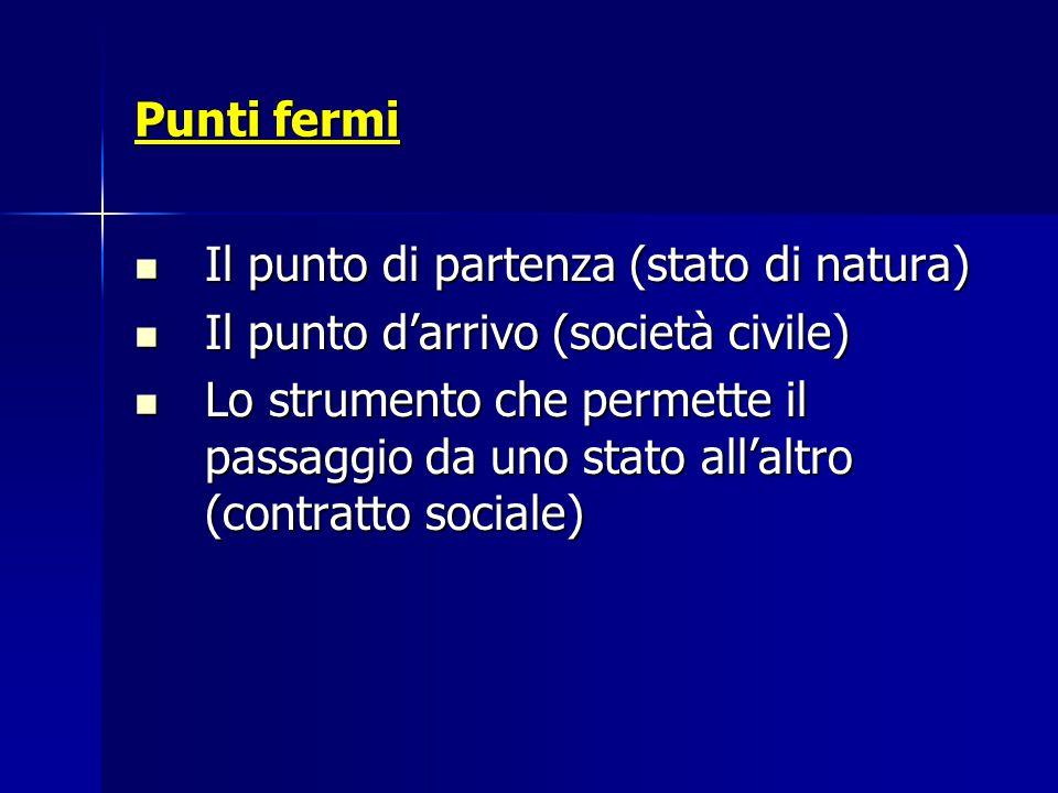 Punti fermi Il punto di partenza (stato di natura) Il punto di partenza (stato di natura) Il punto d'arrivo (società civile) Il punto d'arrivo (societ