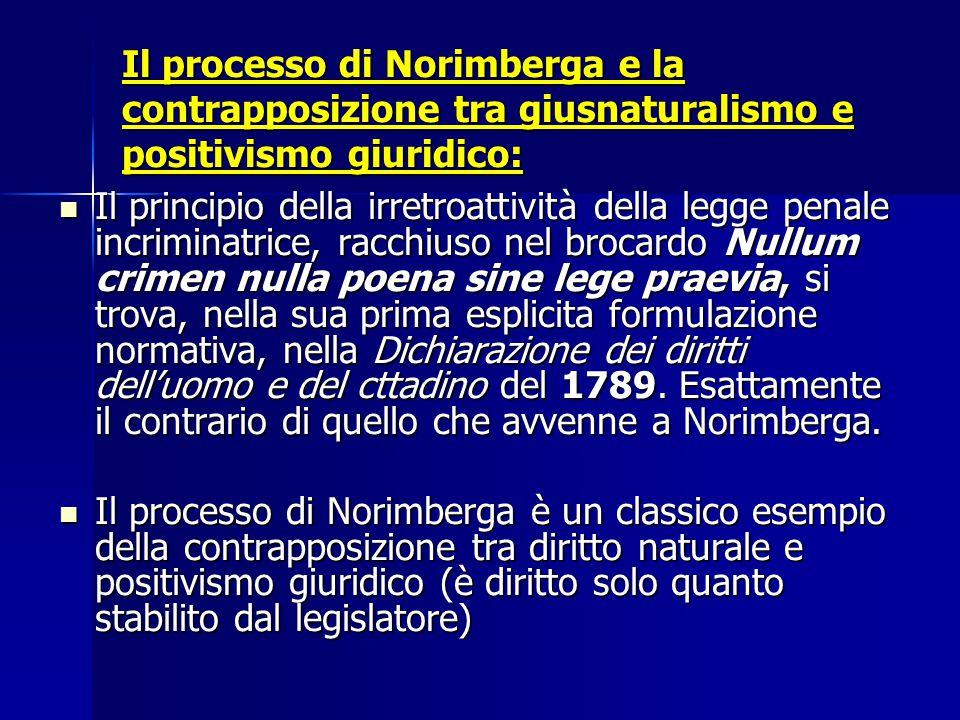 Il processo di Norimberga e la contrapposizione tra giusnaturalismo e positivismo giuridico: Il principio della irretroattività della legge penale inc