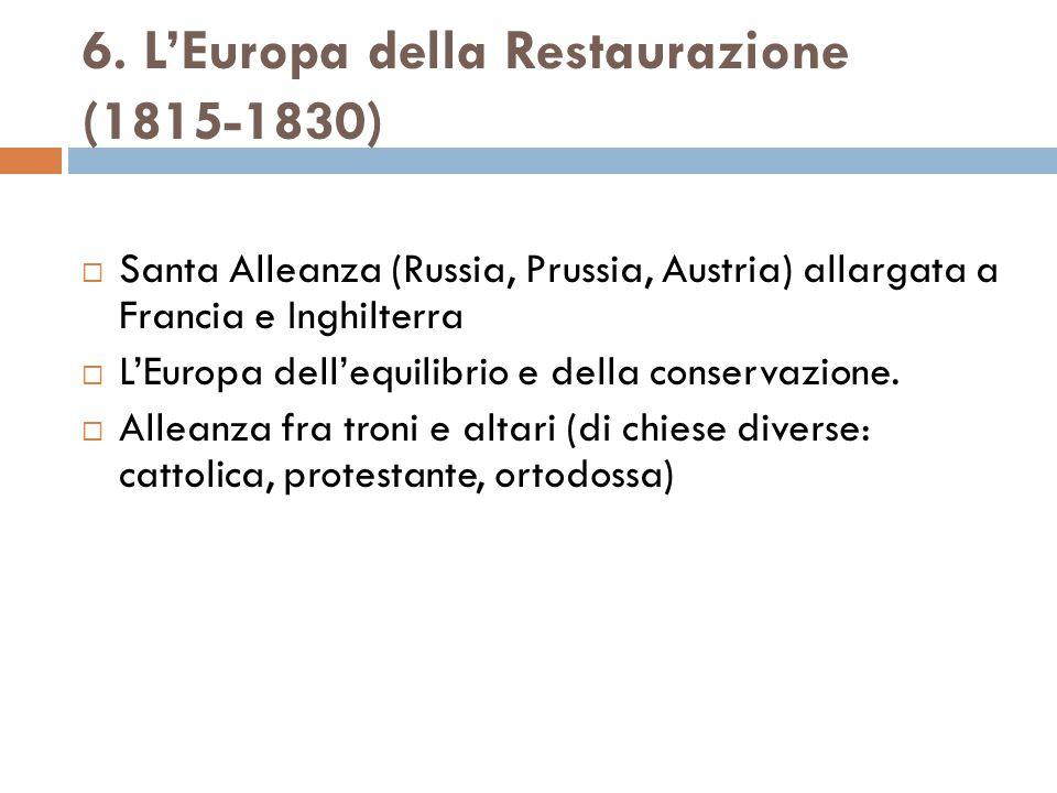 6. L'Europa della Restaurazione (1815-1830)  Santa Alleanza (Russia, Prussia, Austria) allargata a Francia e Inghilterra  L'Europa dell'equilibrio e