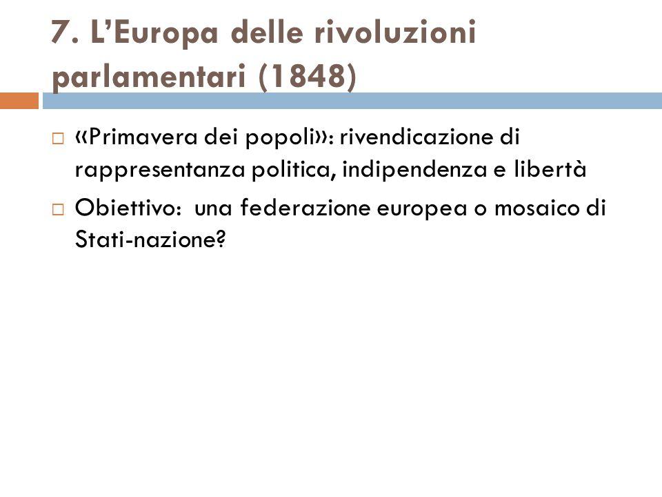 7. L'Europa delle rivoluzioni parlamentari (1848)  «Primavera dei popoli»: rivendicazione di rappresentanza politica, indipendenza e libertà  Obiett
