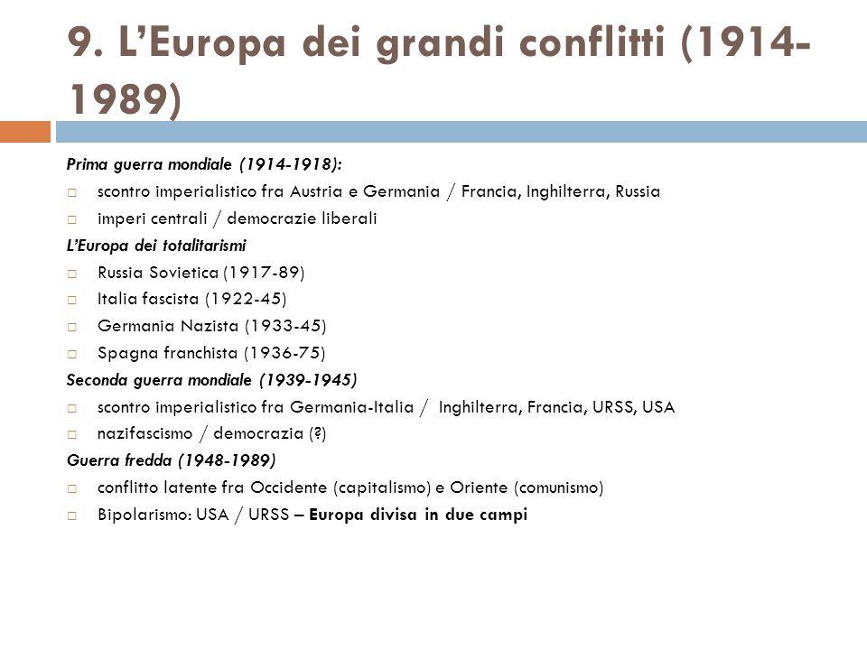 9. L'Europa dei grandi conflitti (1914- 1989) Prima guerra mondiale (1914-1918):  scontro imperialistico fra Austria e Germania / Francia, Inghilterr