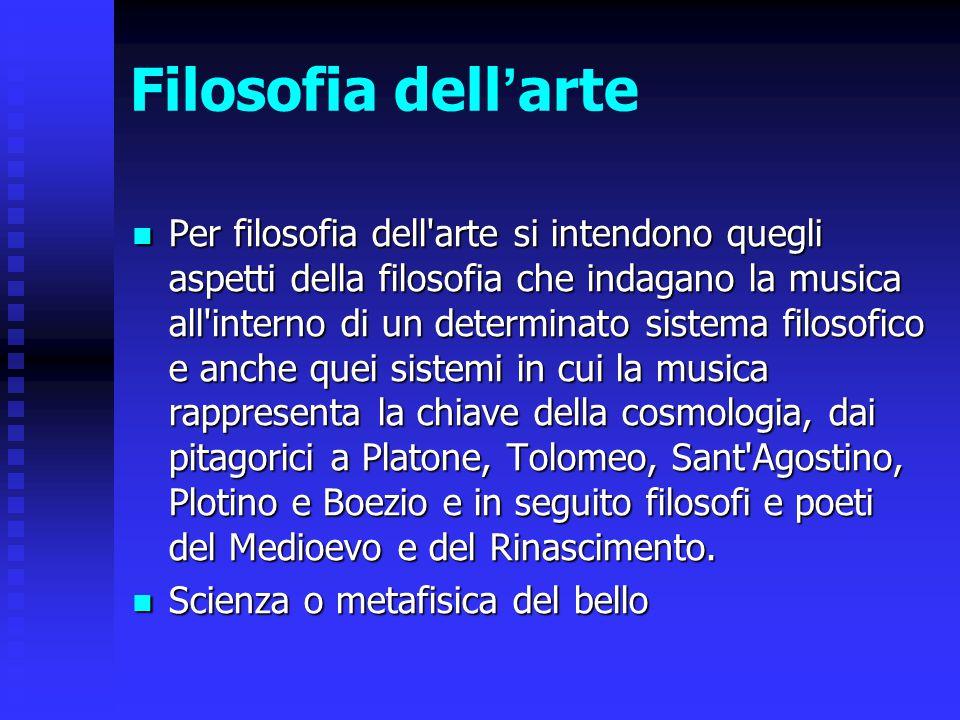 Filosofia dell ' arte Per filosofia dell'arte si intendono quegli aspetti della filosofia che indagano la musica all'interno di un determinato sistema