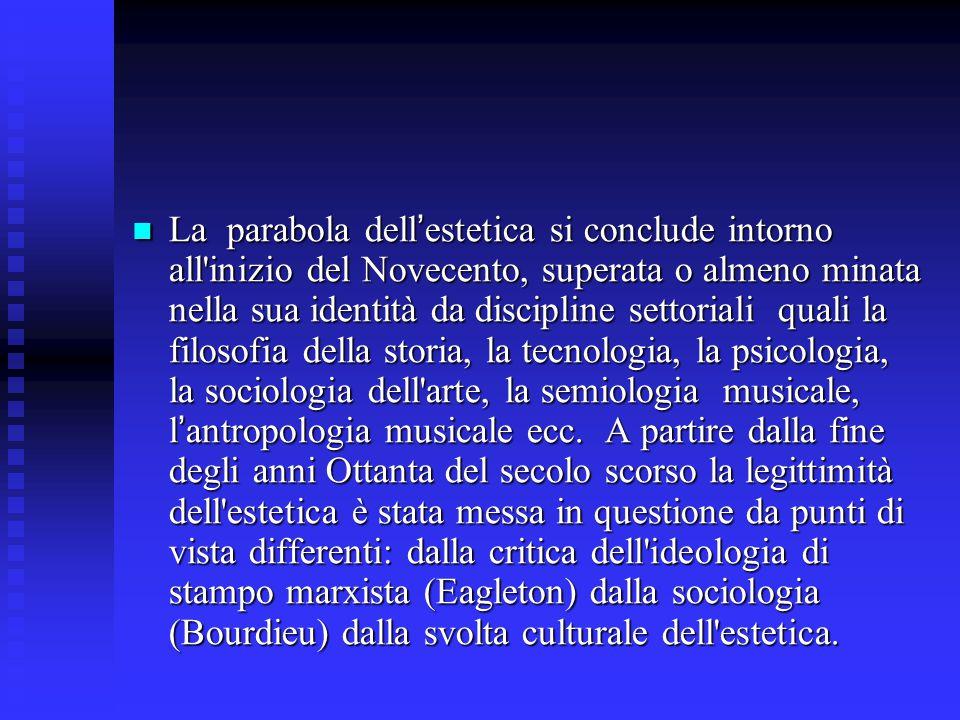La parabola dell ' estetica si conclude intorno all'inizio del Novecento, superata o almeno minata nella sua identità da discipline settoriali quali l