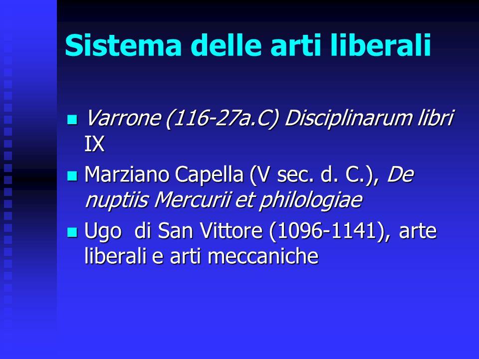 Sistema delle arti liberali Varrone (116-27a.C) Disciplinarum libri IX Varrone (116-27a.C) Disciplinarum libri IX Marziano Capella (V sec. d. C.), De