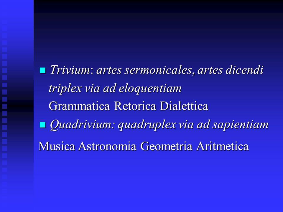 Trivium: artes sermonicales, artes dicendi Trivium: artes sermonicales, artes dicendi triplex via ad eloquentiam triplex via ad eloquentiam Grammatica