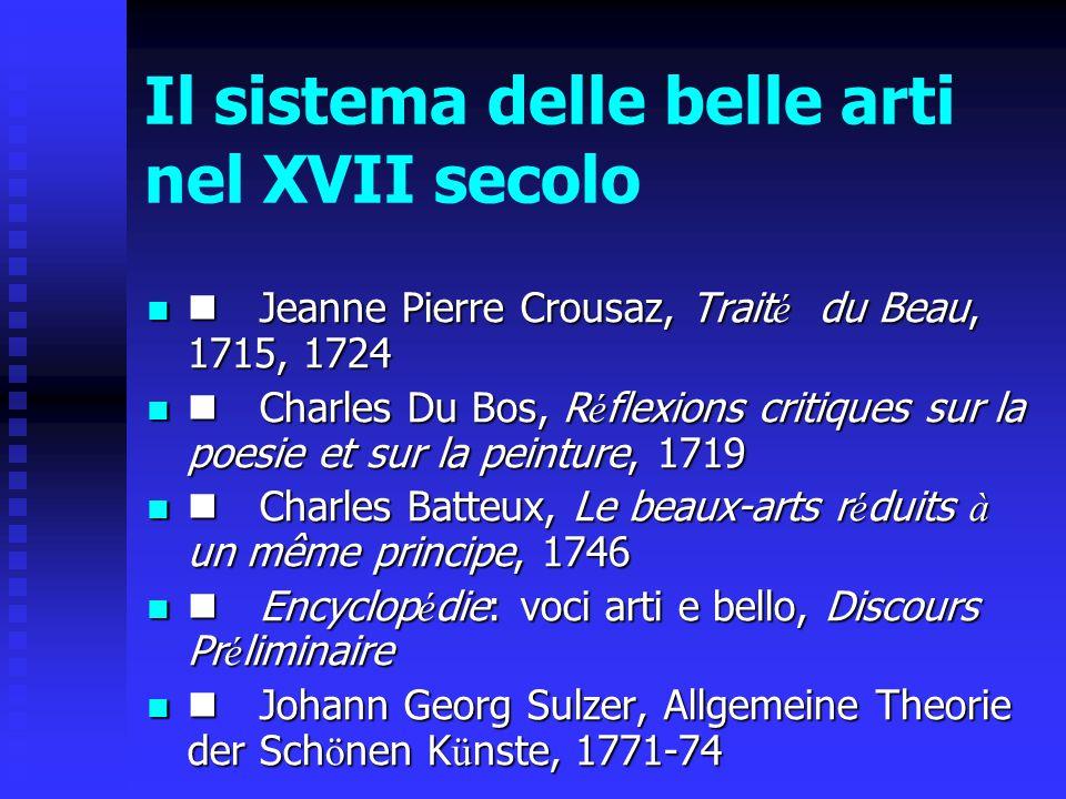 Il sistema delle belle arti nel XVII secolo Jeanne Pierre Crousaz, Trait é du Beau, 1715, 1724 Jeanne Pierre Crousaz, Trait é du Beau, 1715, 1724 Char
