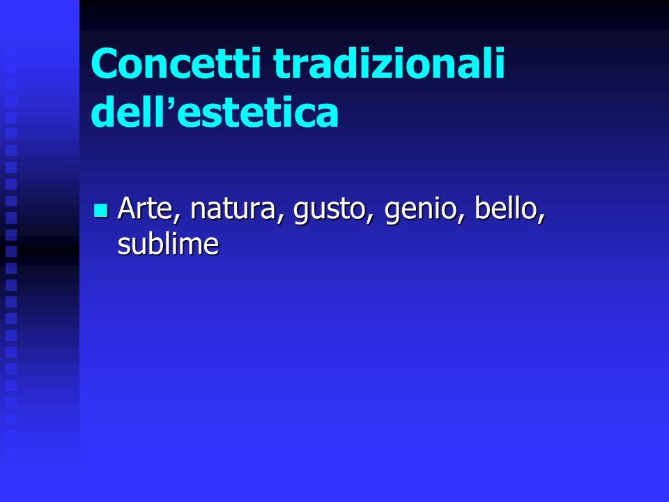 Concetti tradizionali dell ' estetica Arte, natura, gusto, genio, bello, sublime Arte, natura, gusto, genio, bello, sublime