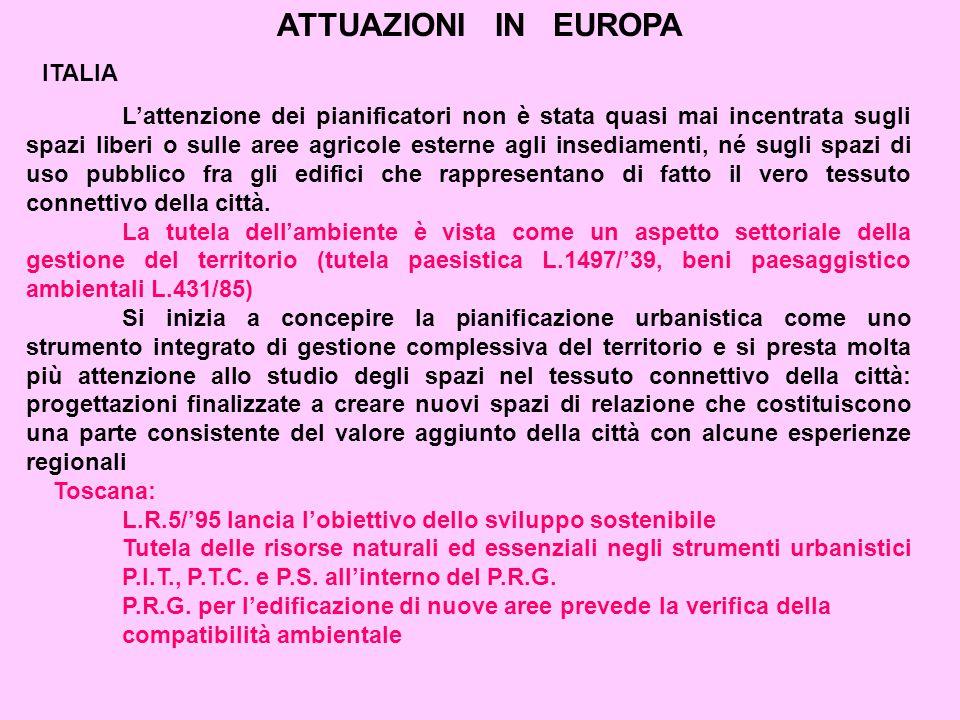 ATTUAZIONI IN EUROPA ITALIA L'attenzione dei pianificatori non è stata quasi mai incentrata sugli spazi liberi o sulle aree agricole esterne agli insediamenti, né sugli spazi di uso pubblico fra gli edifici che rappresentano di fatto il vero tessuto connettivo della città.