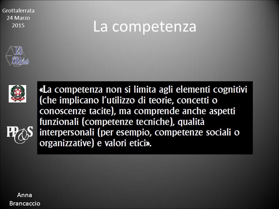 Grottaferrata 24 Marzo 2015 Anna Brancaccio La competenza