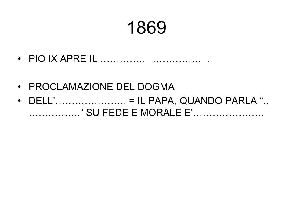 """1869 PIO IX APRE IL ………….. ……………. PROCLAMAZIONE DEL DOGMA DELL'…………………. = IL PAPA, QUANDO PARLA """".. ……………."""" SU FEDE E MORALE E'…………………."""