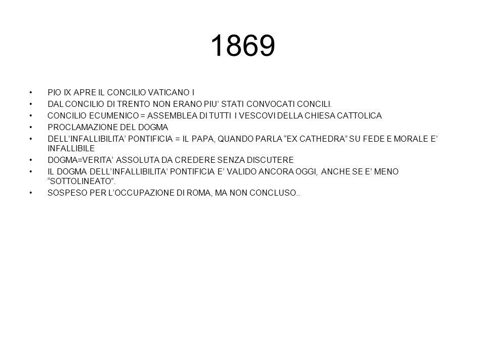 1869 PIO IX APRE IL CONCILIO VATICANO I DAL CONCILIO DI TRENTO NON ERANO PIU' STATI CONVOCATI CONCILI. CONCILIO ECUMENICO = ASSEMBLEA DI TUTTI I VESCO