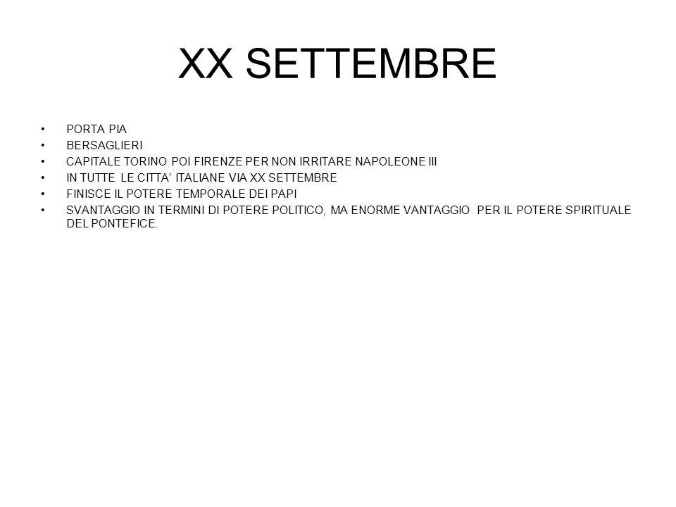 XX SETTEMBRE PORTA PIA BERSAGLIERI CAPITALE TORINO POI FIRENZE PER NON IRRITARE NAPOLEONE III IN TUTTE LE CITTA' ITALIANE VIA XX SETTEMBRE FINISCE IL