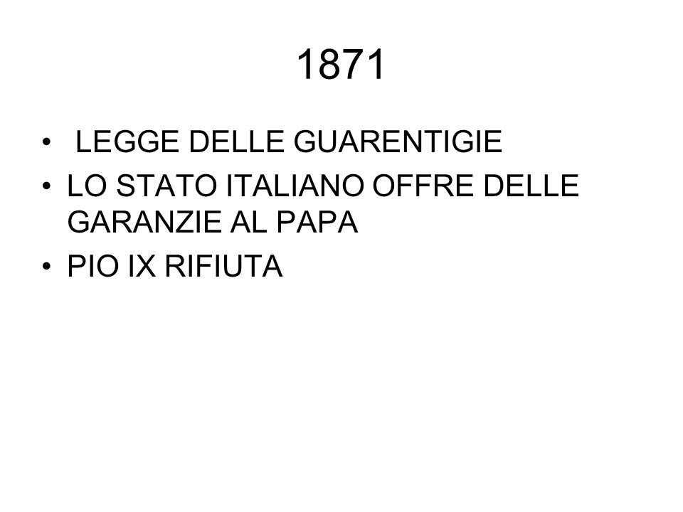 1871 LEGGE DELLE GUARENTIGIE LO STATO ITALIANO OFFRE DELLE GARANZIE AL PAPA PIO IX RIFIUTA
