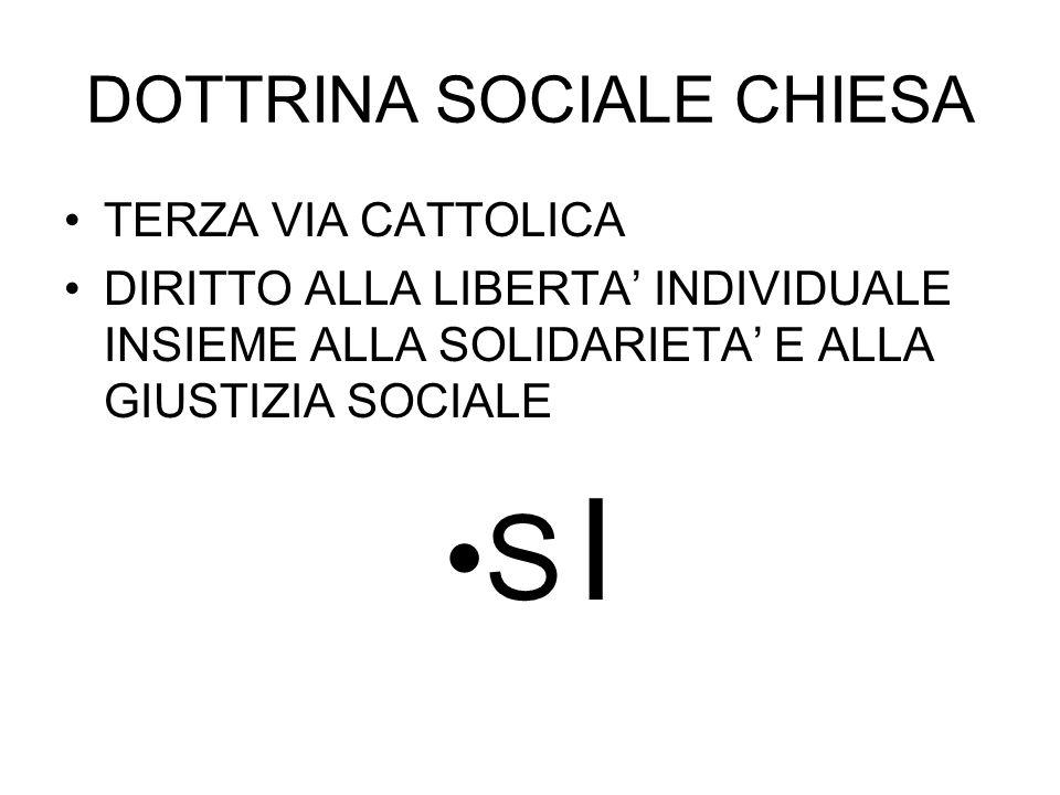 DOTTRINA SOCIALE CHIESA TERZA VIA CATTOLICA DIRITTO ALLA LIBERTA' INDIVIDUALE INSIEME ALLA SOLIDARIETA' E ALLA GIUSTIZIA SOCIALE S I
