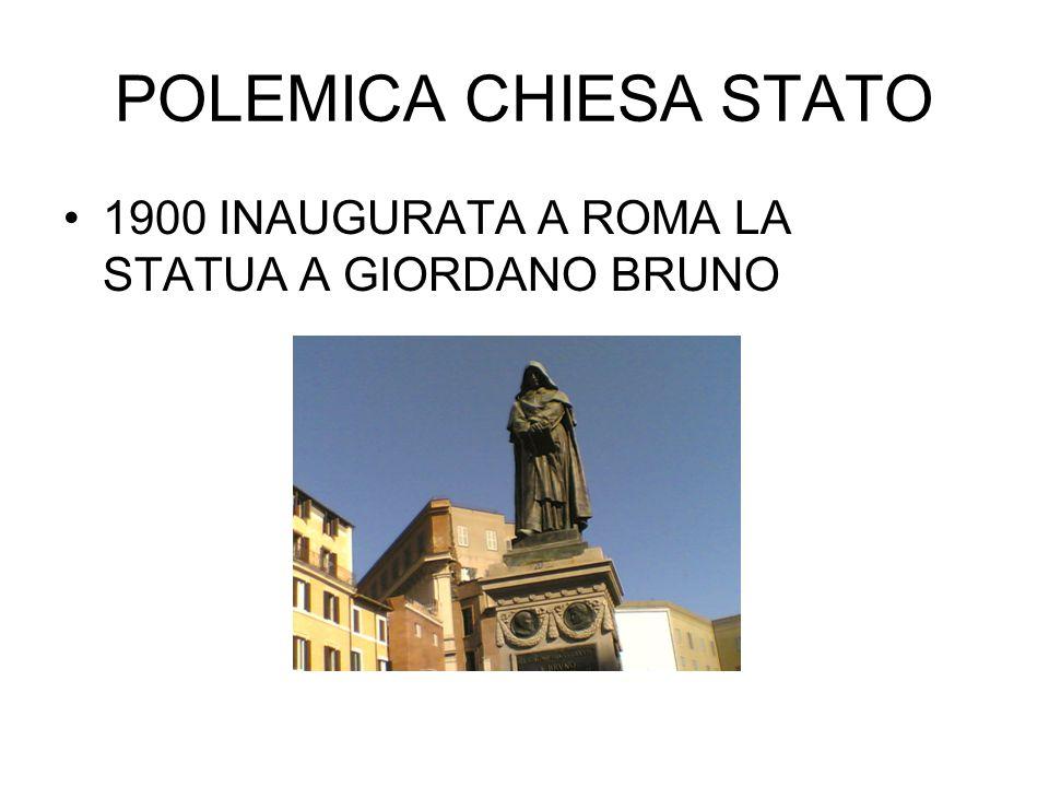 POLEMICA CHIESA STATO 1900 INAUGURATA A ROMA LA STATUA A GIORDANO BRUNO