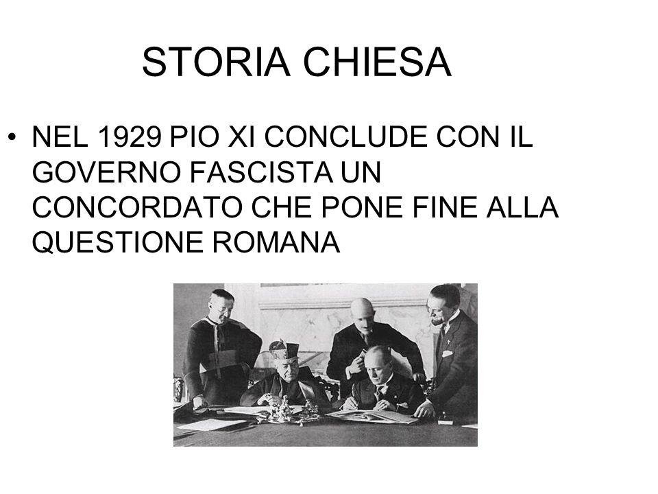 STORIA CHIESA NEL 1929 PIO XI CONCLUDE CON IL GOVERNO FASCISTA UN CONCORDATO CHE PONE FINE ALLA QUESTIONE ROMANA