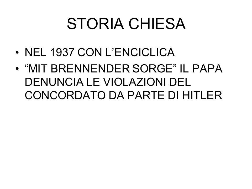 """STORIA CHIESA NEL 1937 CON L'ENCICLICA """"MIT BRENNENDER SORGE"""" IL PAPA DENUNCIA LE VIOLAZIONI DEL CONCORDATO DA PARTE DI HITLER"""
