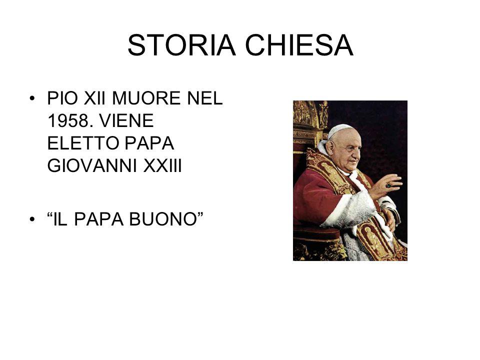 """STORIA CHIESA PIO XII MUORE NEL 1958. VIENE ELETTO PAPA GIOVANNI XXIII """"IL PAPA BUONO"""""""