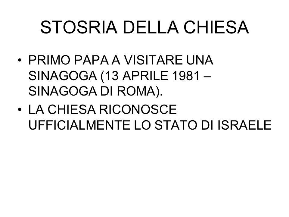 STOSRIA DELLA CHIESA PRIMO PAPA A VISITARE UNA SINAGOGA (13 APRILE 1981 – SINAGOGA DI ROMA). LA CHIESA RICONOSCE UFFICIALMENTE LO STATO DI ISRAELE