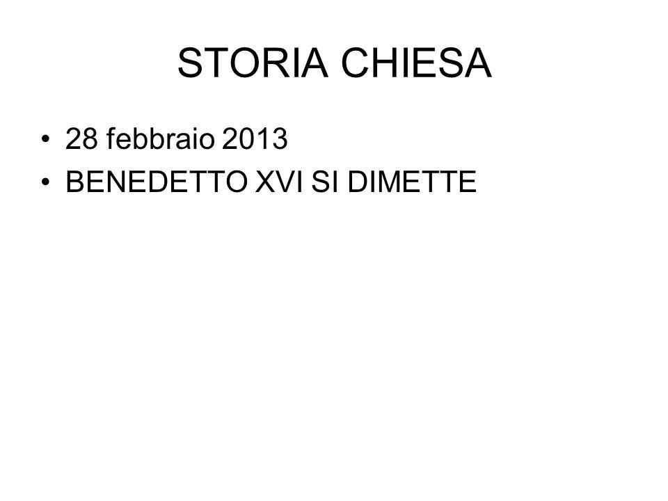 STORIA CHIESA 28 febbraio 2013 BENEDETTO XVI SI DIMETTE