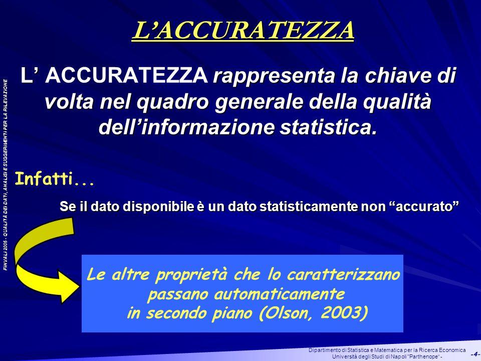 FINVALI 2005 - QUALITÀ DEI DATI, ANALISI E SUGGERIMENTI PER LA RILEVAZIONE Dipartimento di Statistica e Matematica per la Ricerca Economica Università degli Studi di Napoli Parthenope - -4- L' rappresenta la chiave di volta nel quadro generale della qualità dell'informazione statistica.