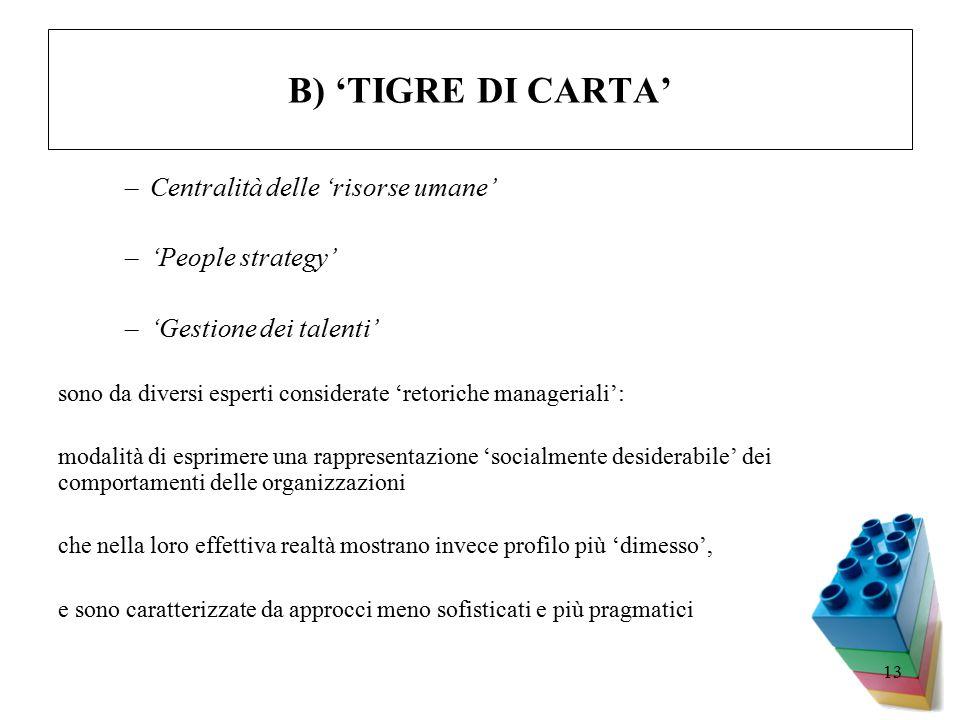 13 B) 'TIGRE DI CARTA' –Centralità delle 'risorse umane' –'People strategy' –'Gestione dei talenti' sono da diversi esperti considerate 'retoriche manageriali': modalità di esprimere una rappresentazione 'socialmente desiderabile' dei comportamenti delle organizzazioni che nella loro effettiva realtà mostrano invece profilo più 'dimesso', e sono caratterizzate da approcci meno sofisticati e più pragmatici