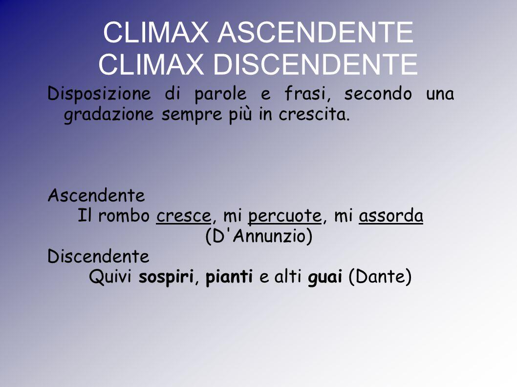 CLIMAX ASCENDENTE CLIMAX DISCENDENTE Disposizione di parole e frasi, secondo una gradazione sempre più in crescita. Ascendente Il rombo cresce, mi per