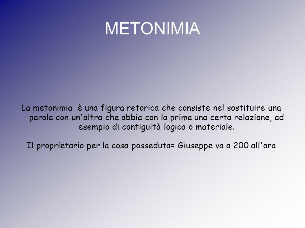 METONIMIA La metonimia è una figura retorica che consiste nel sostituire una parola con un'altra che abbia con la prima una certa relazione, ad esempi