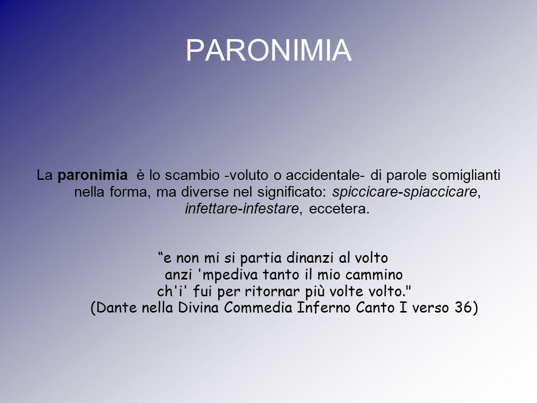 PARONIMIA La paronimia è lo scambio -voluto o accidentale- di parole somiglianti nella forma, ma diverse nel significato: spiccicare-spiaccicare, infe