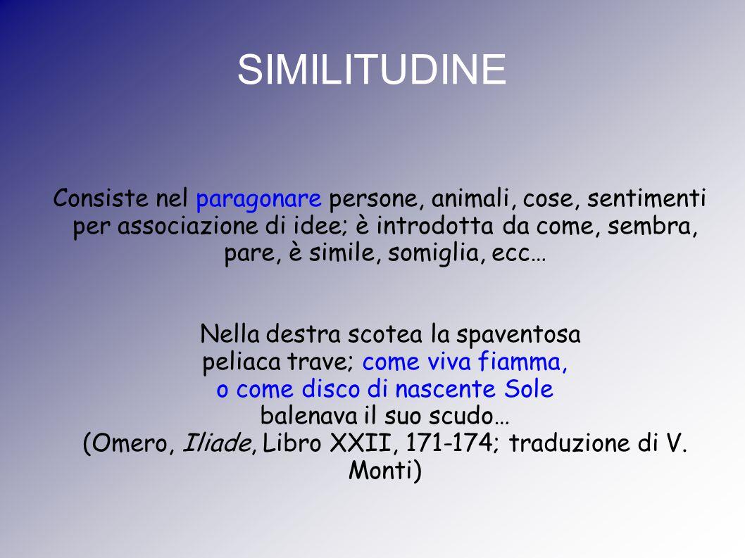 SIMILITUDINE Consiste nel paragonare persone, animali, cose, sentimenti per associazione di idee; è introdotta da come, sembra, pare, è simile, somigl