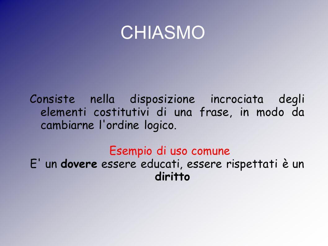 CHIASMO Consiste nella disposizione incrociata degli elementi costitutivi di una frase, in modo da cambiarne l'ordine logico. Esempio di uso comune E'