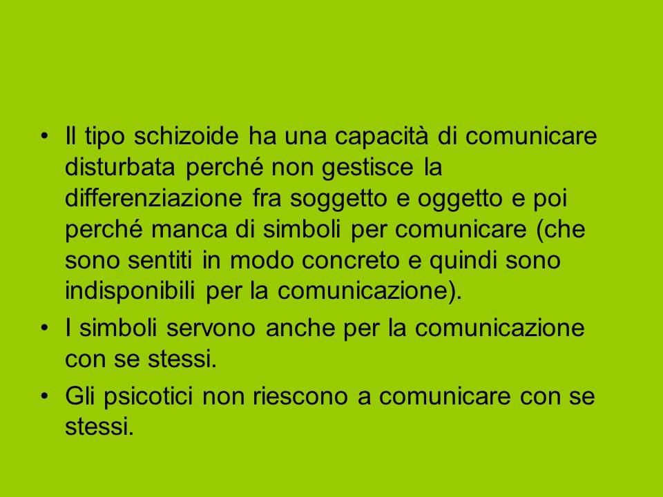 Il tipo schizoide ha una capacità di comunicare disturbata perché non gestisce la differenziazione fra soggetto e oggetto e poi perché manca di simbol
