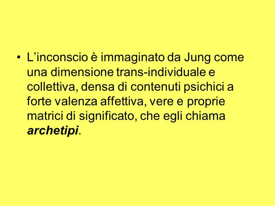 L'inconscio è immaginato da Jung come una dimensione trans-individuale e collettiva, densa di contenuti psichici a forte valenza affettiva, vere e proprie matrici di significato, che egli chiama archetipi.