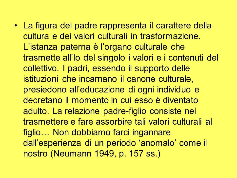 La figura del padre rappresenta il carattere della cultura e dei valori culturali in trasformazione. L'istanza paterna è l'organo culturale che trasme