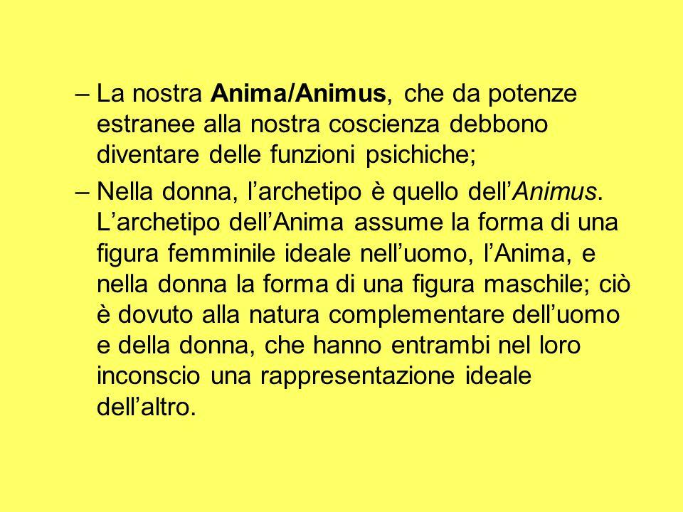 –La nostra Anima/Animus, che da potenze estranee alla nostra coscienza debbono diventare delle funzioni psichiche; –Nella donna, l'archetipo è quello dell'Animus.