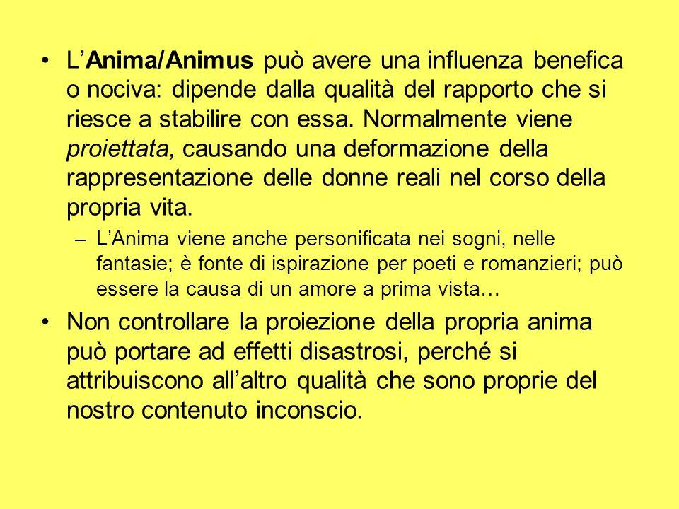 L'Anima/Animus può avere una influenza benefica o nociva: dipende dalla qualità del rapporto che si riesce a stabilire con essa.