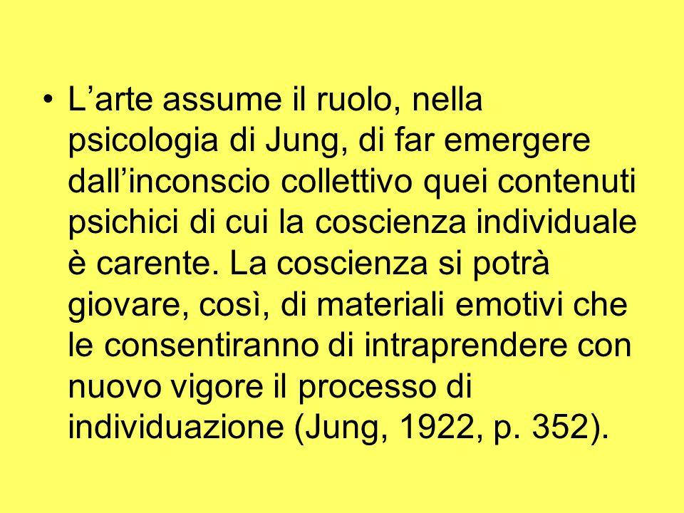 L'arte assume il ruolo, nella psicologia di Jung, di far emergere dall'inconscio collettivo quei contenuti psichici di cui la coscienza individuale è