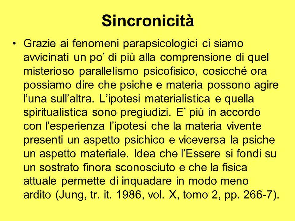 Sincronicità Grazie ai fenomeni parapsicologici ci siamo avvicinati un po' di più alla comprensione di quel misterioso parallelismo psicofisico, cosicché ora possiamo dire che psiche e materia possono agire l'una sull'altra.
